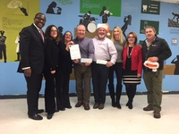 2017 Moonjumpers Project TOY Check Presentation to Tri-CYA - Barry Lites, Lauren Perry, Debbie Rimler, Rob Benson, Ray Homburger, Melanie Mazzeo, Vita Scaturro & Pete Hornick