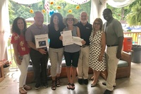 Moonjumpers provide a $5,000 Grant to North Shore Holiday House - Alanna Russo, Rob Benson, Lisa Biolsi, Mary Weill, Ray Homburger, Vita Scaturro & Barry Lites
